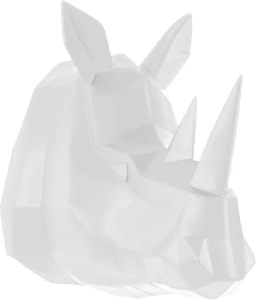 PRESENT TIME Sada 2 ks: Nástenná dekorácia Origami Rhino biela - zl'ava 20% (VEMZUDNI20)