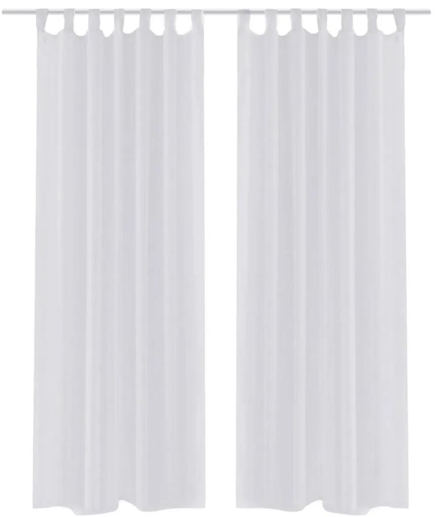 vidaXL Biela priehľadná záclona 140 x 175 cm 2 ks