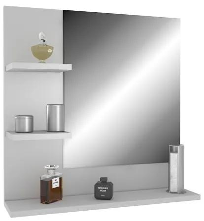 Biele závesné zrkadlo s policami 60 x 60 ľavý variant