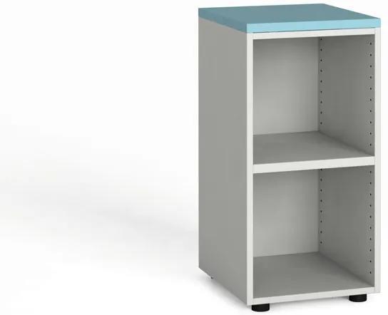 Kancelársky regál 740 x 400 x 420 mm, biela/azúrová