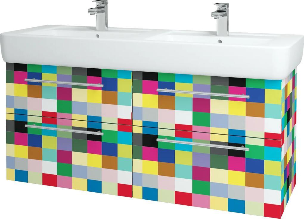 Dřevojas - Koupelnová skříň Q MAX SZZ4 130 - IND Individual / Úchytka T02 / IND Individual (149239B)