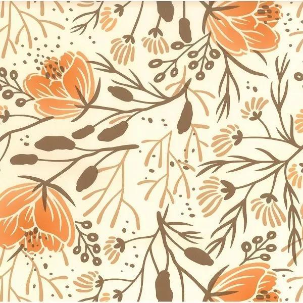 Goldea pvc obrusovina - vzor oranžové kvety - metráž š. 130 cm 130 cm