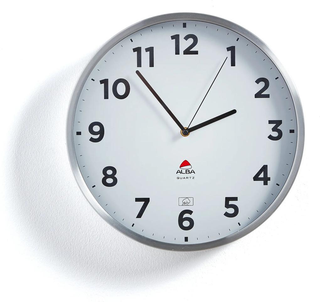Exteriérové nástenné hodiny, Ø 355 mm, biele