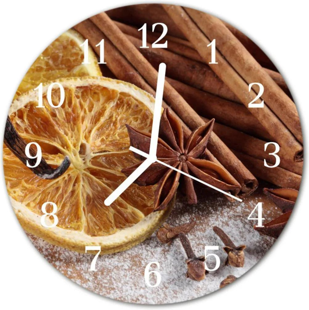 Nástenné sklenené hodiny  škoricový aníz