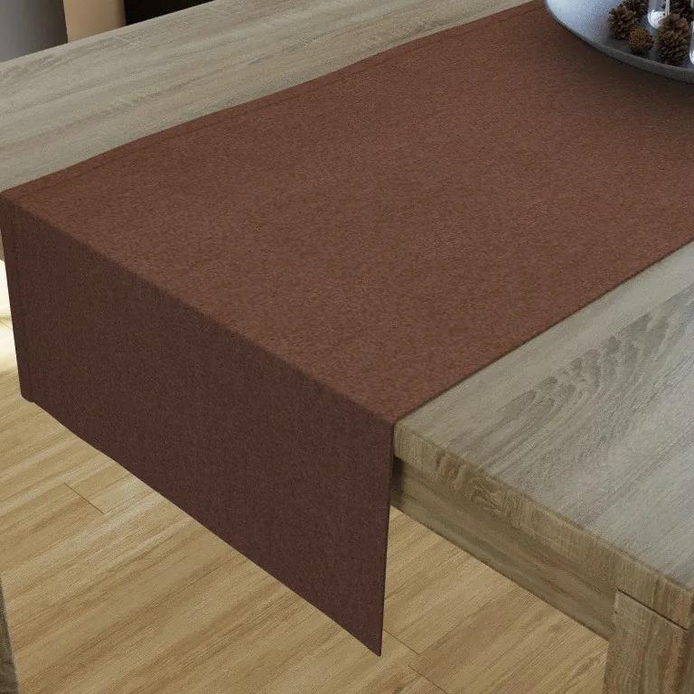Goldea dekoračný behúň na stôl loneta - hnedý 35x180 cm