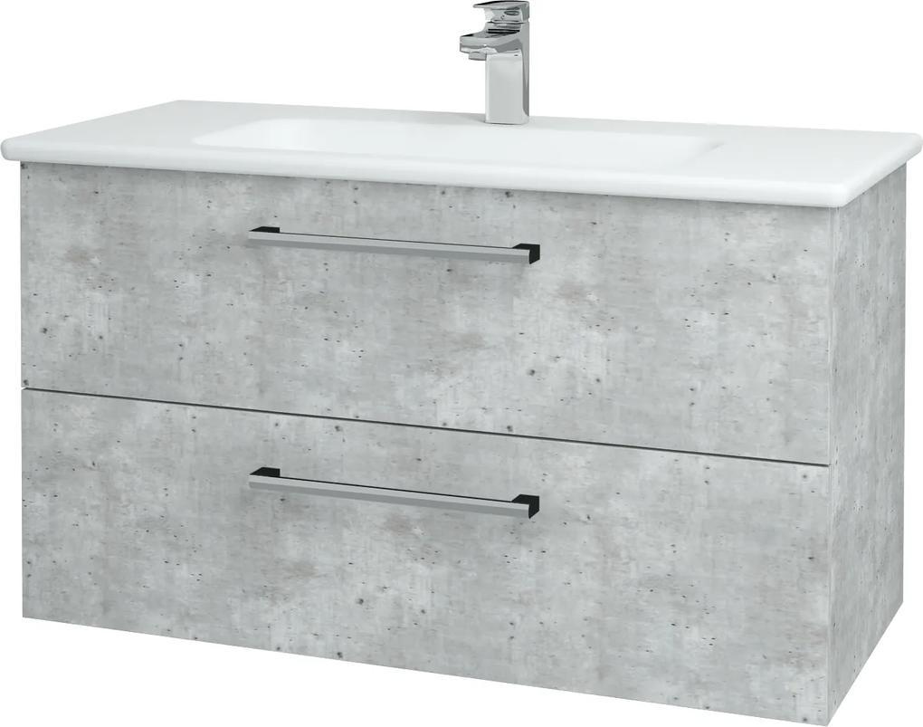 Dřevojas - Koupelnová skříň GIO SZZ2 100 - D01 Beton / Úchytka T03 / D01 Beton (130626C)