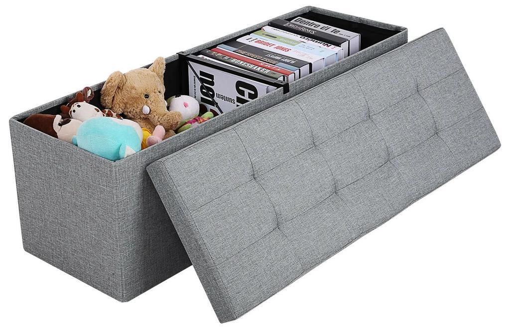 SONGMICS Úložný sedací box čalúnený skladacie 110x38 cm šedý