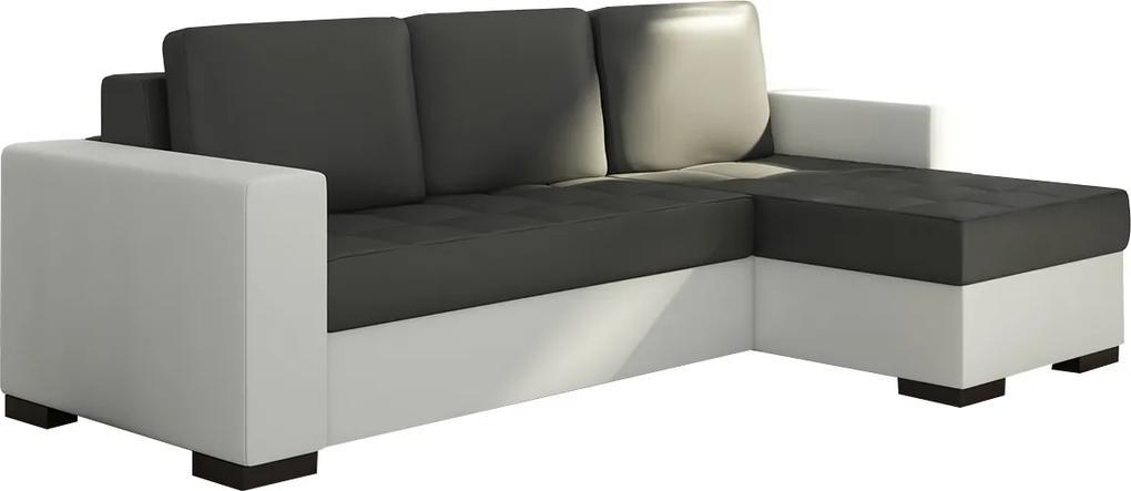 NABBI Novara L/P rohová sedačka s rozkladom a úložným priestorom čierna (Soft 11) / biela (Soft 17)