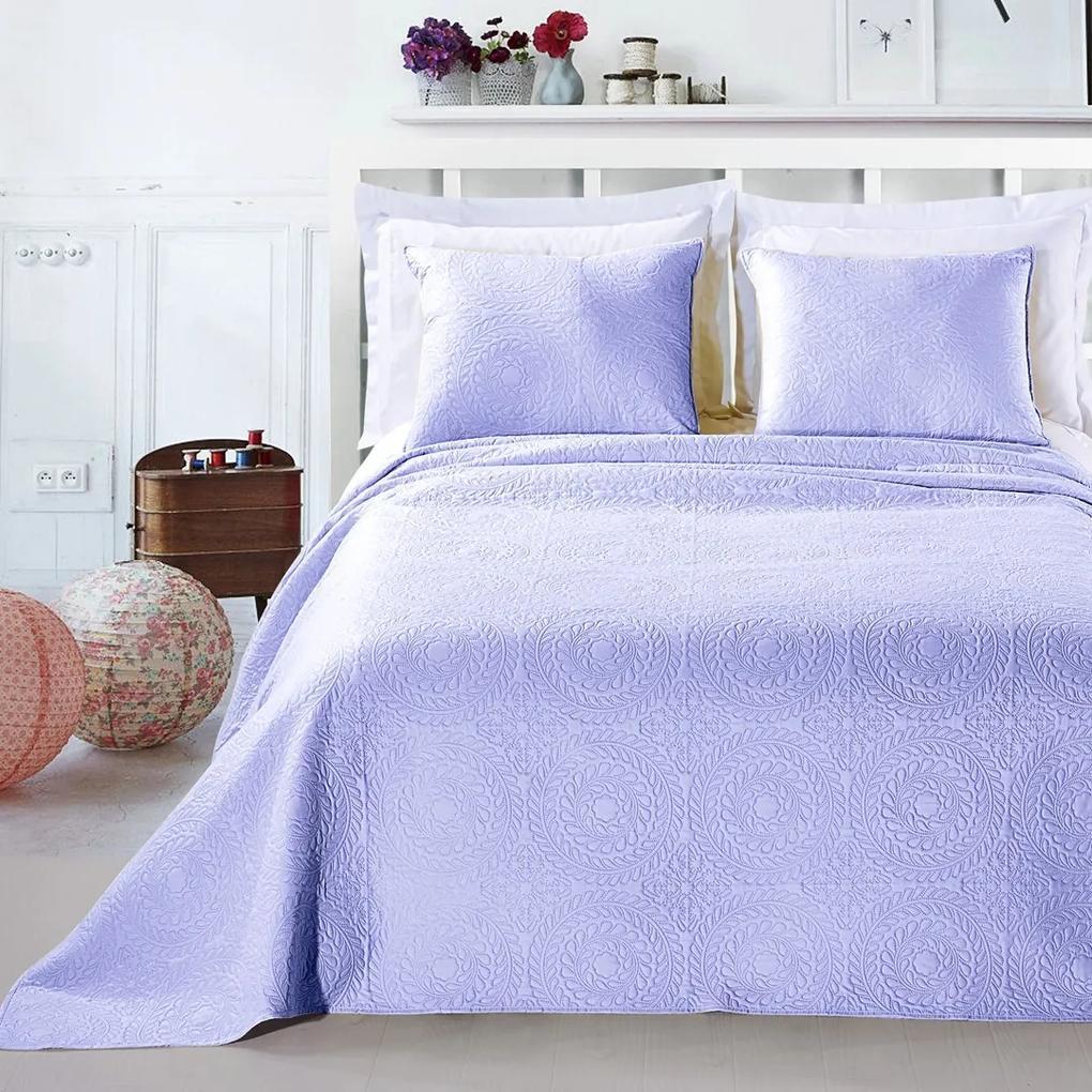 Přehoz na postel DecoKing Elodie šeříkový + povlaky na polštáře