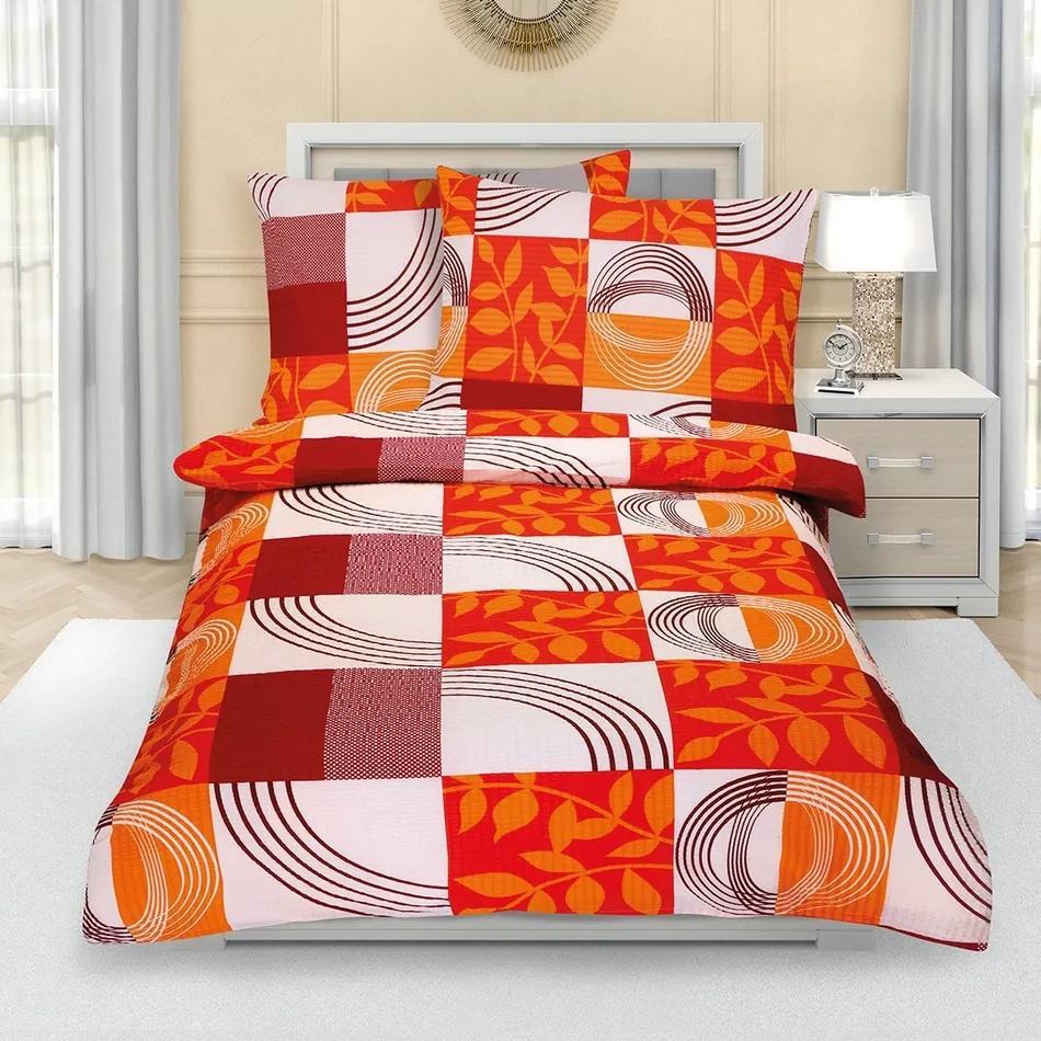 Bellatex Krepové obliečky Patchwork oranžová, 140 x 200 cm, 70 x 90 cm