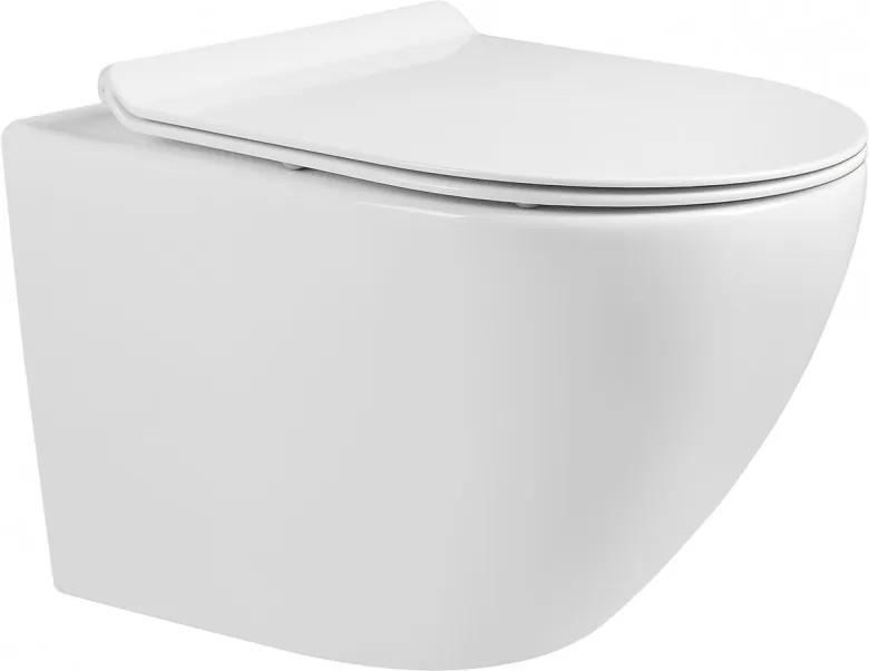 Mexen LENA Rimless, závesná WC misa so sedátkom pomaly-padajúcim SLIM, 48 x 36 cm, biela, 30224000