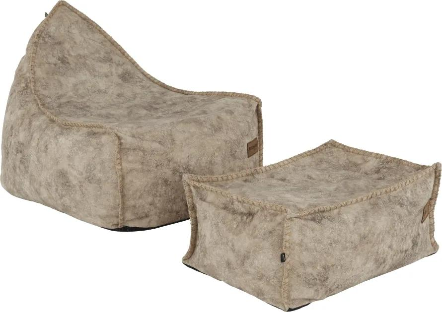 TEMPO KONDELA Folan sedací vak s taburetkou sivohnedá (taupe)