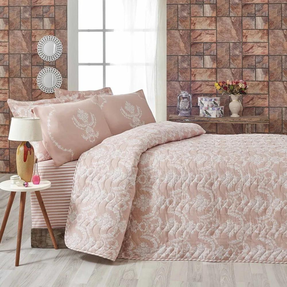 Ružový pléd cez posteľ na dvojlôžko s obliečkami na vankúše Livia, 200 × 220 cm