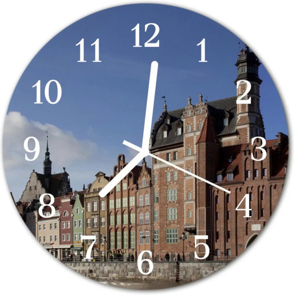 Sklenené hodiny okrúhle  mesto Gdansk