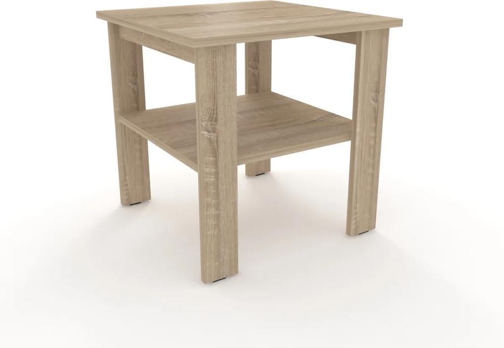 Moderný odkladací stolík štvorec 55 x 55 cm rovné nohy - - Buk