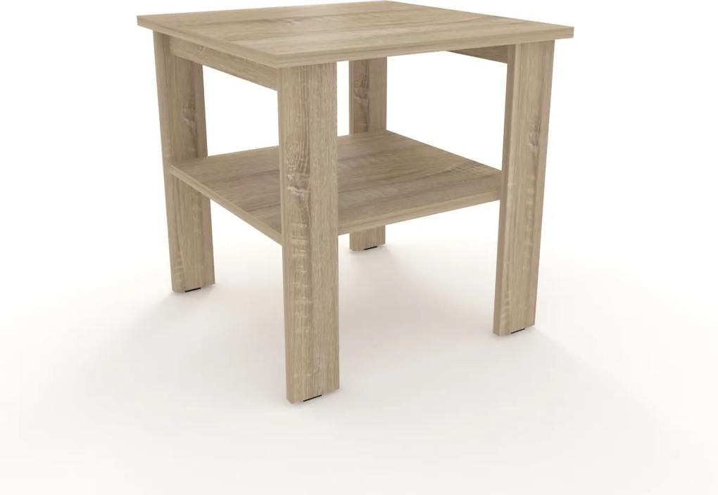 Moderný odkladací stolík štvorec 55 x 55 cm rovné nohy - - Dub bílý Monaco