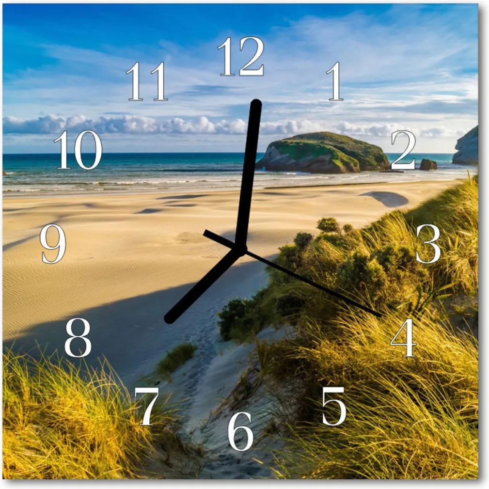 Nástenné skleněné hodiny pláž