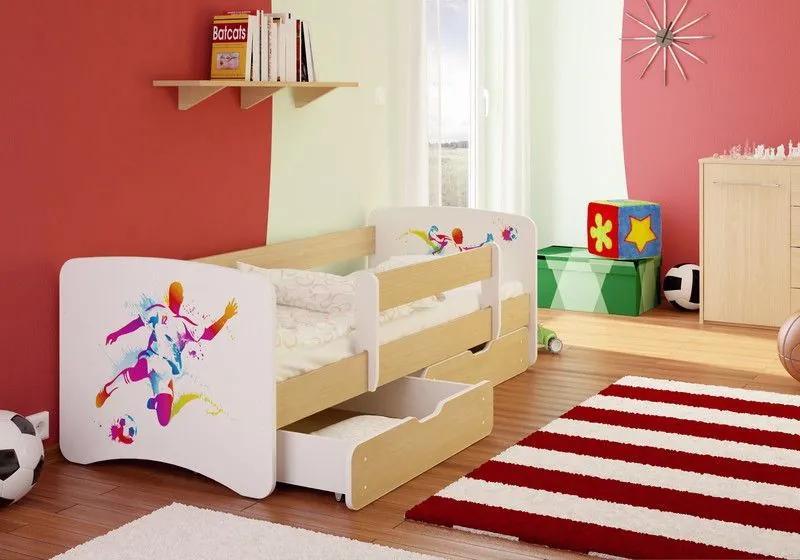 MAXMAX Detská posteľ FUTBALISTA funny 160x90cm - so zásuvkou 160x90 pre chlapca ÁNO