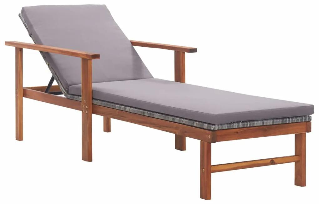 vidaXL Záhradné ležadlo s podložkou, polyratan a akáciový masív, sivé