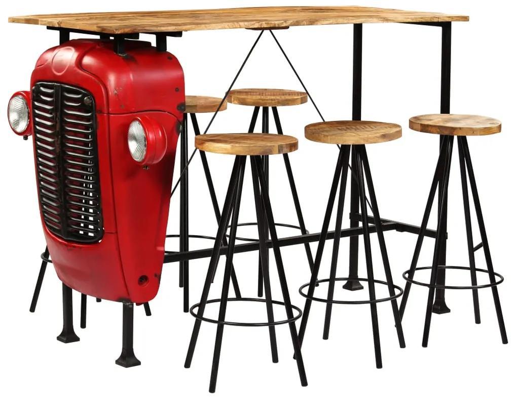 vidaXL Barová súprava, 7 ks, masívne mangovníkové drevo 150x60x107 cm