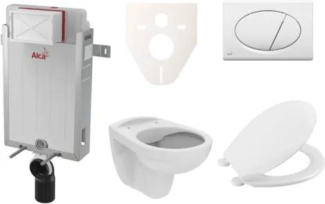 Závesný set WC S-Line PRO rimless, nádržka Alcaplast Renovmodul, tlačidlo biele SIKOAP1