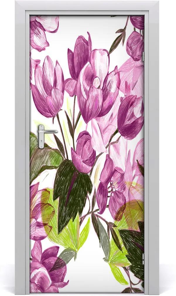 Samolepící fototapeta na dveře Fialové květiny