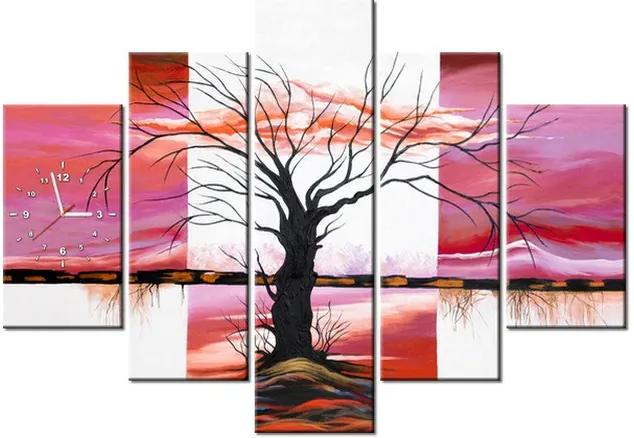 Tlačený obraz s hodinami Pevný strom pri západe slnka 150x105cm ZP3995A_5H