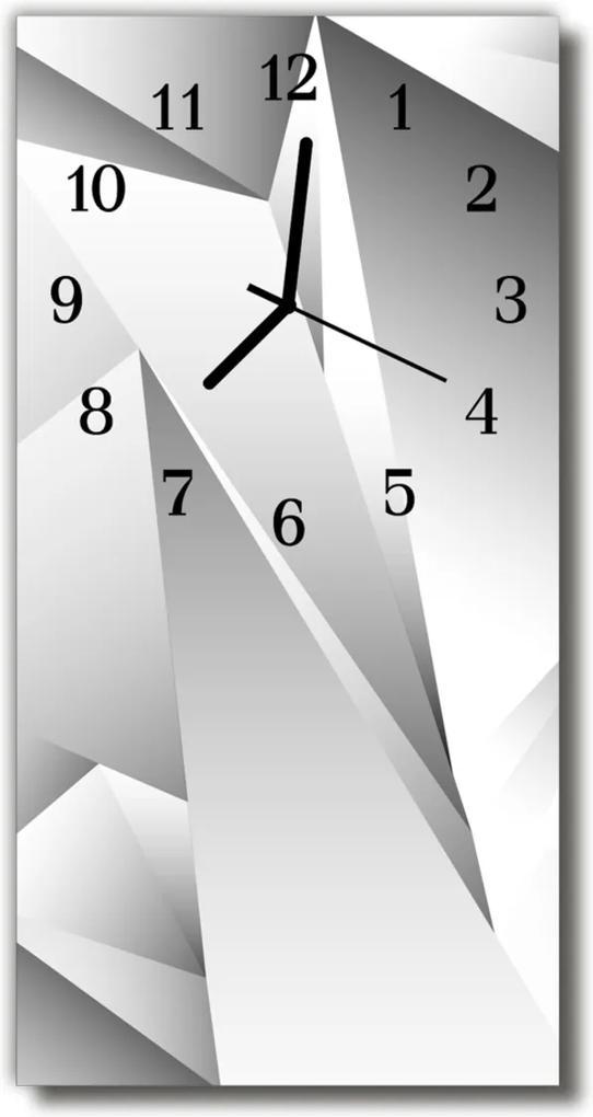Skleněné hodiny vertikální Umění 3d bílá grafika