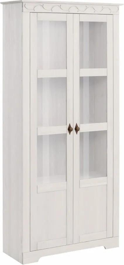 Biela dvojdverová vitrína z masívneho borovicového dreva Støraa Lando