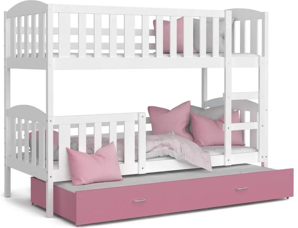 GL Poschodová posteľ pre 3 deti Jakub 3 Color Farba: Ružová, Rozmer: 190x80