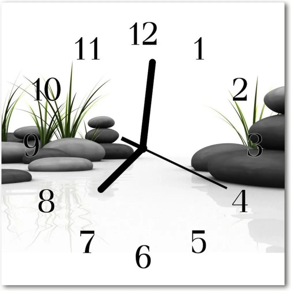 Nástenné skleněné hodiny Lázně s kameny
