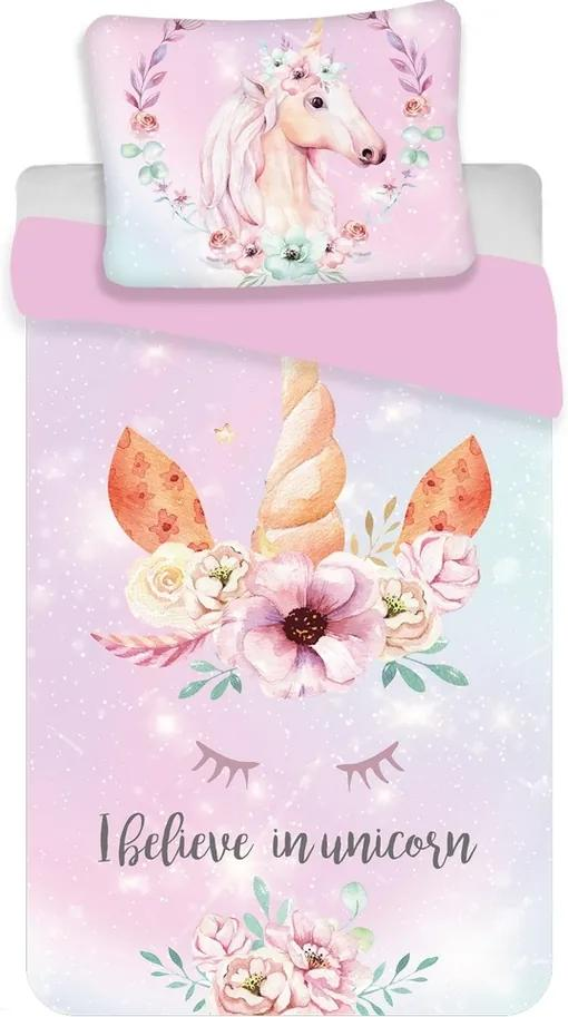 Jerry Fabrics Detské bavlnené obliečky Unicorn pink, 140 x 200 cm, 70 x 90 cm