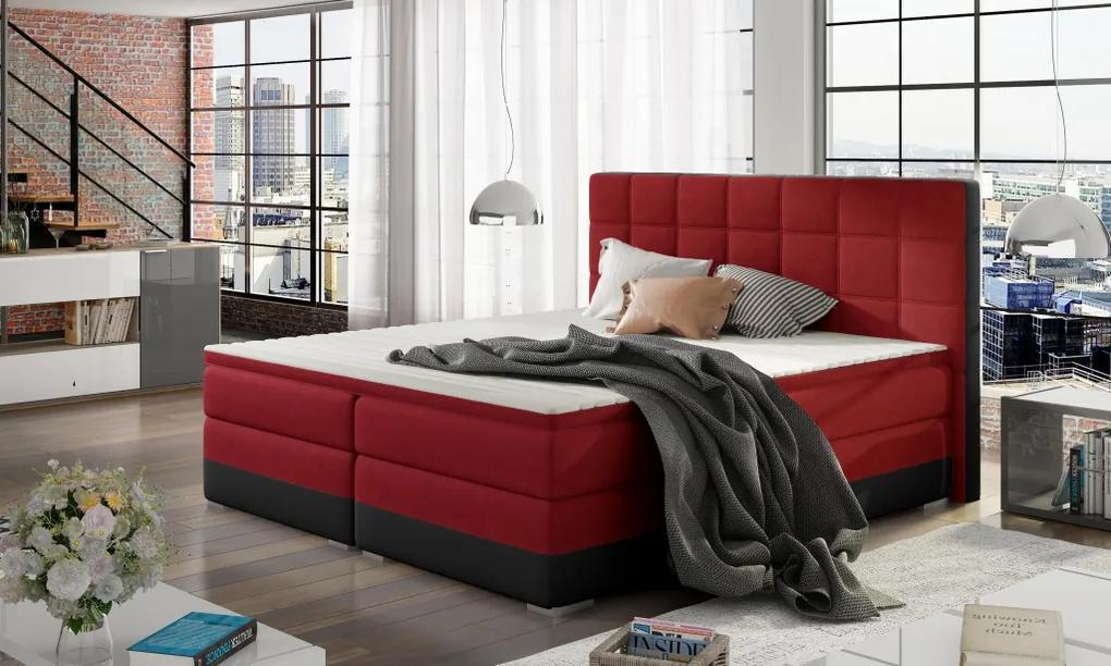 Moderná box spring posteľ Dolores 180x200, čierna / červená