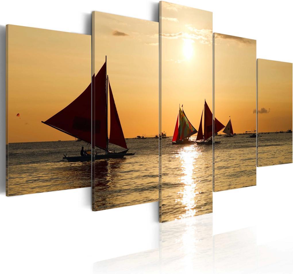 Obraz - Sailbloats at dusk 100x50