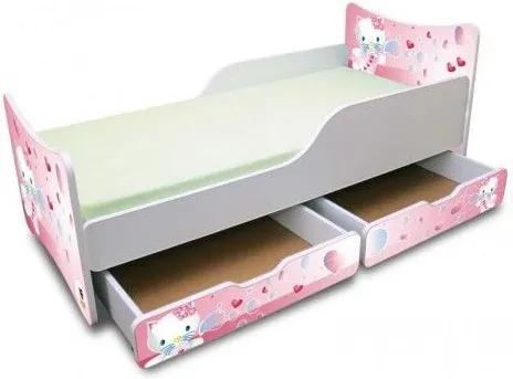 MAXMAX Detská posteľ 160x80 cm so zásuvkou - KITTY A BUBLIFUK 160x80 pre dievča ÁNO