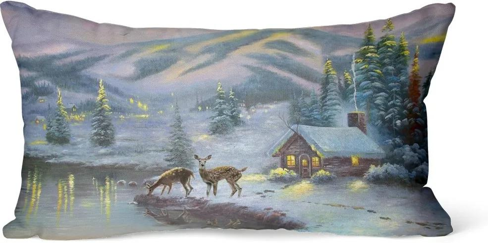 Domarex Vianočný svietiaci vankúšik s LED svetielkami Srnky, 30 x 50 cm