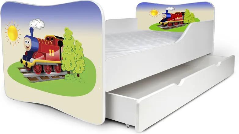 MAXMAX Detská posteľ so zásuvkou VLÁČIK + matrac ZADARMO 180x80 pre chlapca ÁNO
