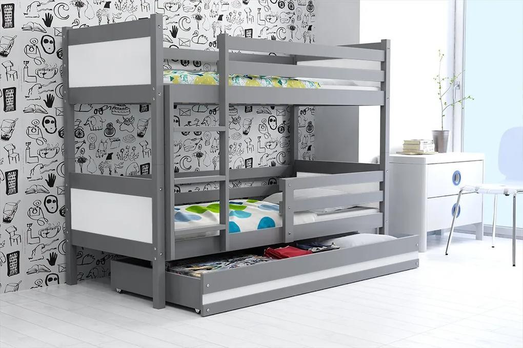 Poschodová posteľ RINO 190x80cm - Grafitová - Biela