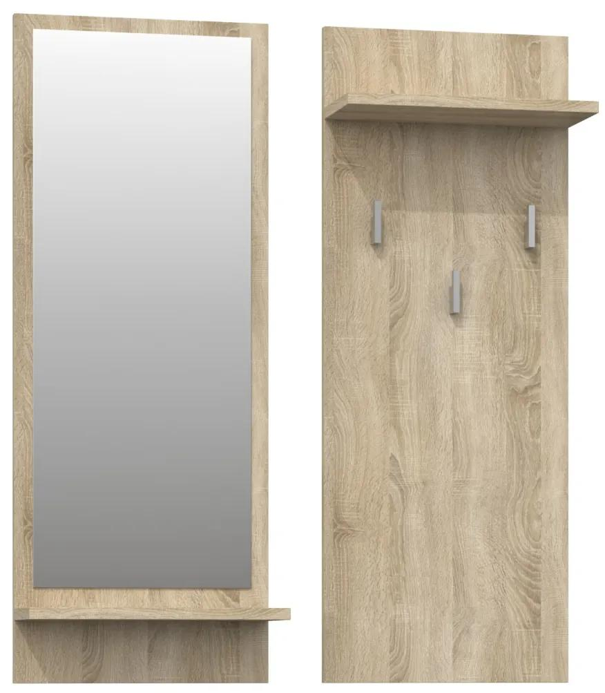 Shoptop Věšáková stěna se zrcadlem- RIVA- DUB sonoma