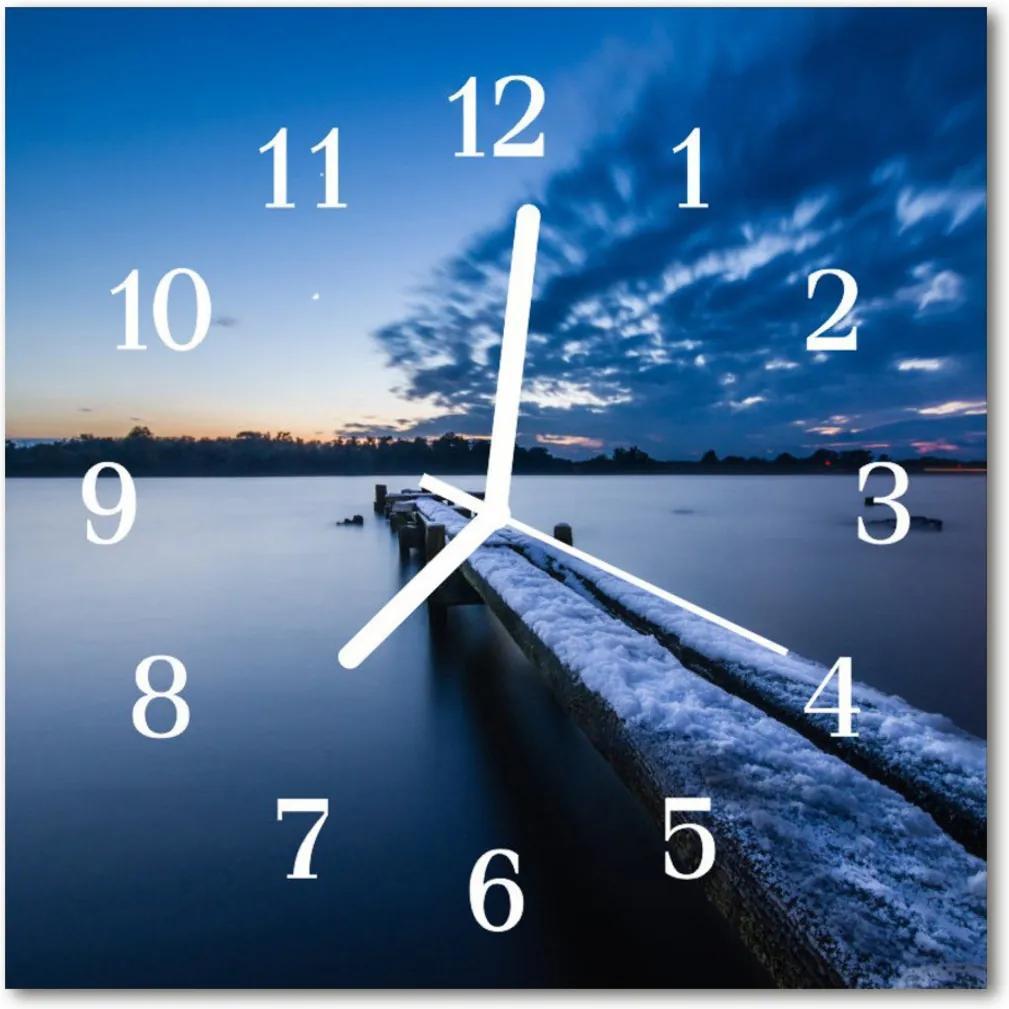 Nástenné skleněné hodiny krajina