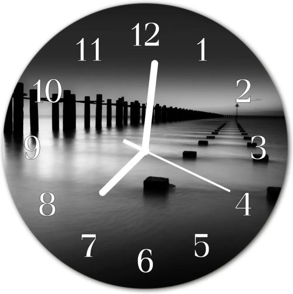 Skleněné hodiny kulaté moře