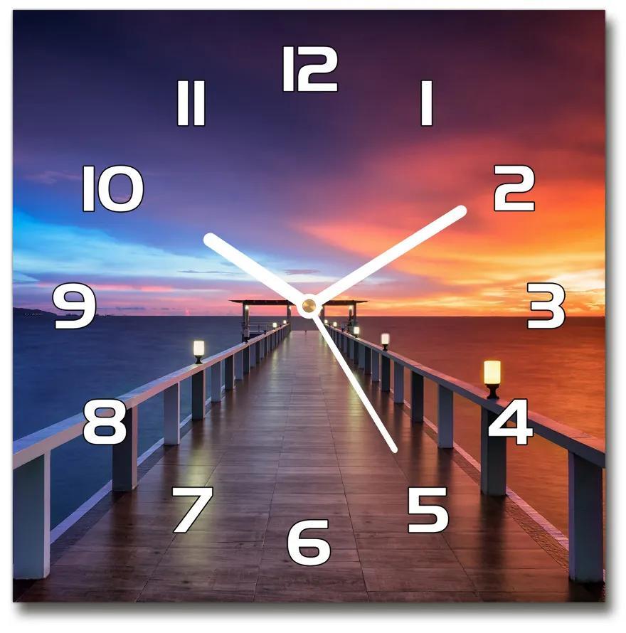 Sklenené hodiny štvorec Drevený most pl_zsk_30x30_f_70190870