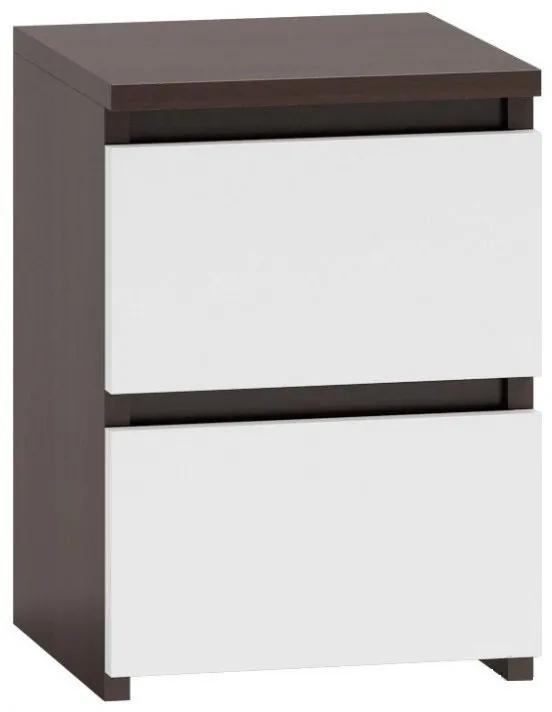Shoptop Noční stolek MALWA M2 mix tmavě hnědý a bílý