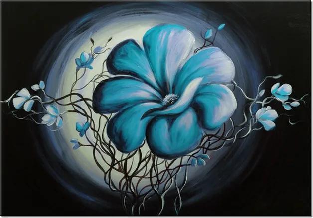 Ručne maľovaný obraz Modrá živá krása 100x70cm RM2448A_1Z