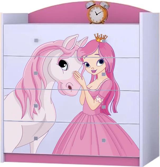 OR Komoda Mery ružová K06 - viac variantov Motív: I - Princezna s koníkom
