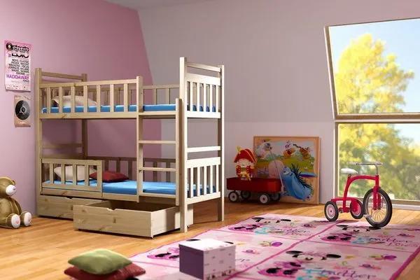 MAXMAX Detská poschodová posteľ z MASÍVU 200x80cm bez šuplíku - PP009 200x80 NIE