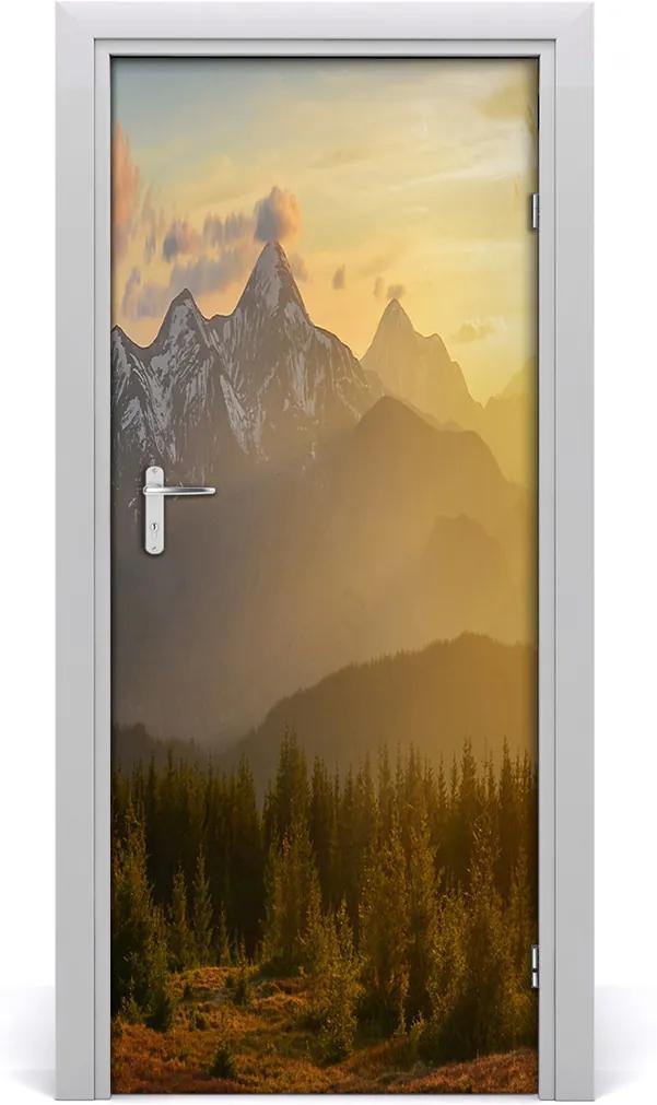 Fototapeta na dvere  západ slnka hory