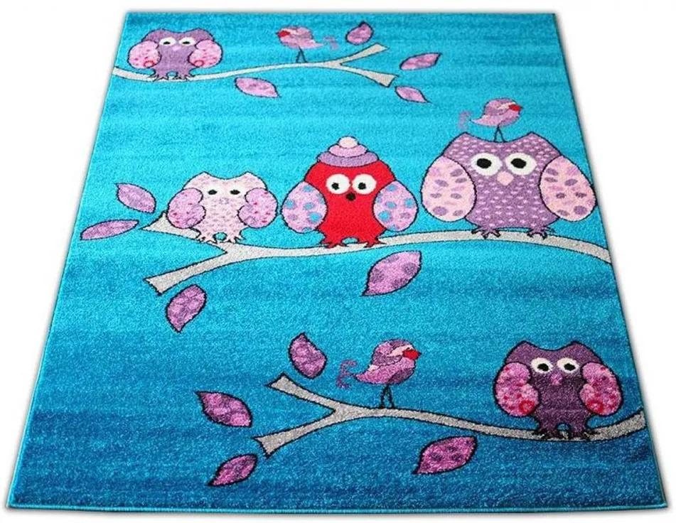 Detský koberec Sovy tyrkysový, Velikosti 240x330cm