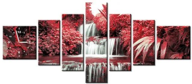 Tlačený obraz s hodinami Vodopád v červenej prírode 160x70cm ZP2539A_7C