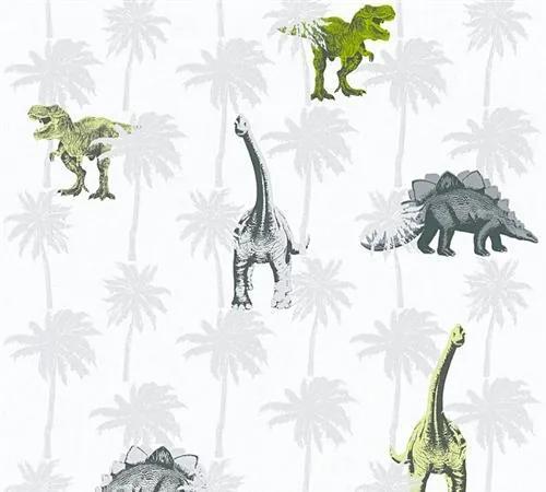 Detské vliesové tapety na stenu Little Stars 35835-2, rozmer 10,05 m x 0,53 m, dinosaury zeleno-sivý, A.S.Création